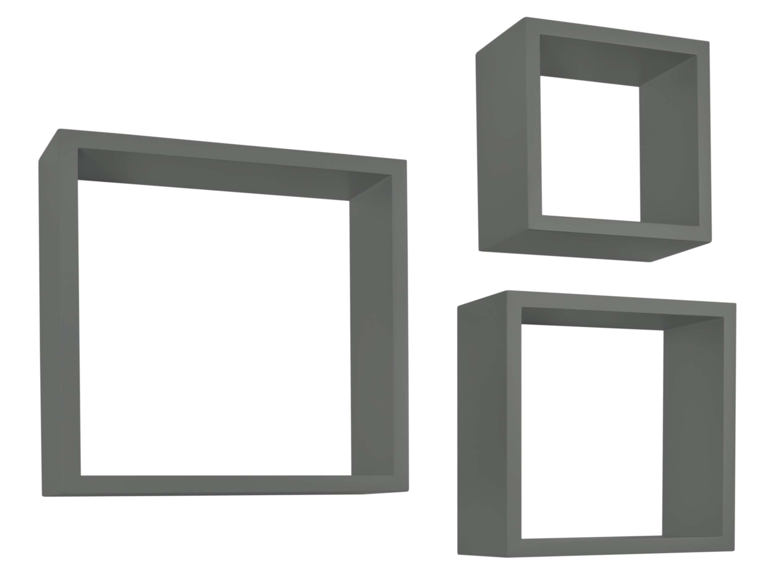 Półki Wiszące Cube Quad Zestaw 3 Szt Szare Tohurtpl