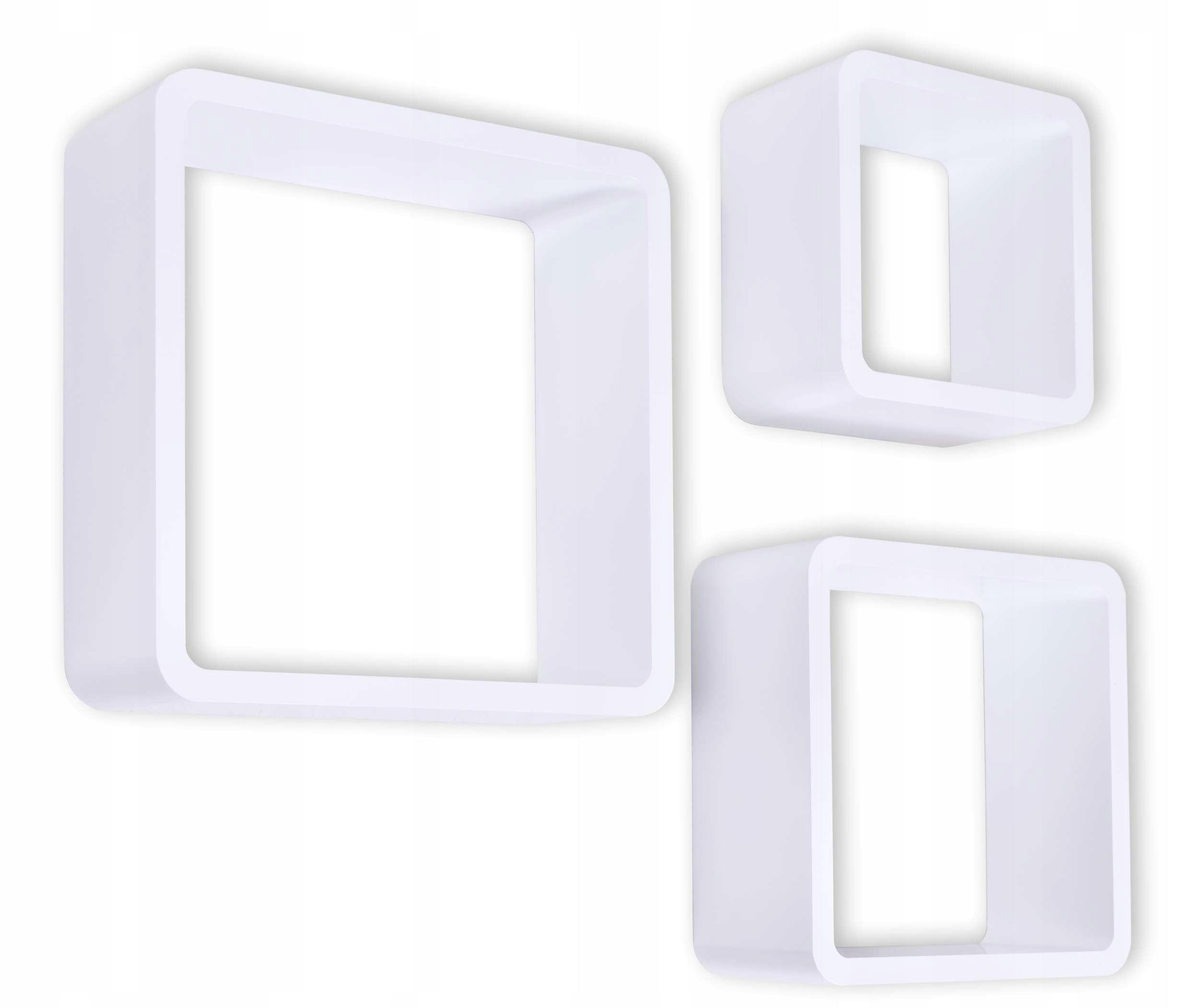 Półki Wiszące Cube Zestaw 3 Szt Białe Tohurtpl
